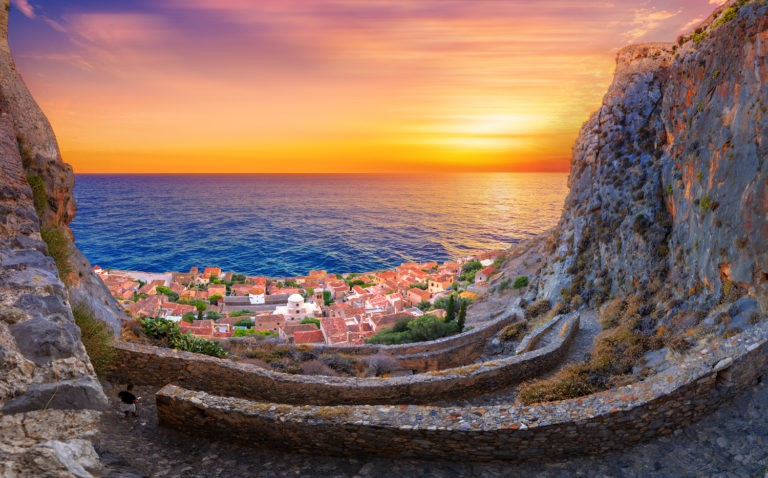 The castletown of Monemvasia in Greece on a private tour