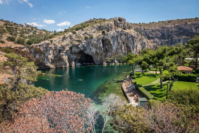 Lake Vouliagmeni on a beautiful day of private tour in Athens