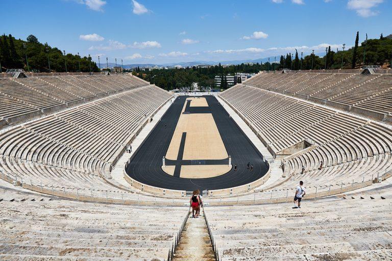 Walking into Panathenaic Stadium in Athens on a full day tour